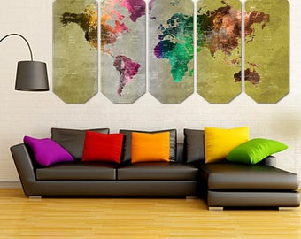 Colourful  World Map Canvas Art - Large Canvas Print Art, World Map Art - Green Golden World Map Art - FreeShipping - Perfect Gift