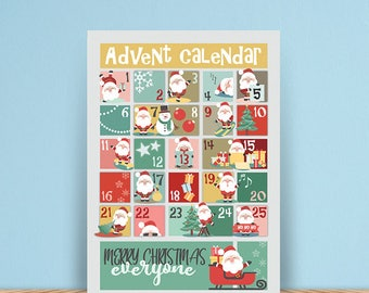 Christmas advent calender printable, poster, JPG, Instant download, christmas wall decoration, christmas decoration, christmas poster, Santa