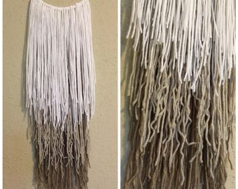 Ombre boho yarn wall hanging decor   neutral room decor   ombre   tapestry