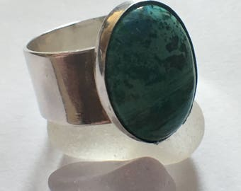 Large Chrysocolla Gemstone Ring.