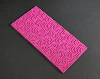 Texture sheet Curls, Flexible polymer texture matt, Polymer Clay Texture Plate, Impression Stamp,Paisley Texture Stamp for soap