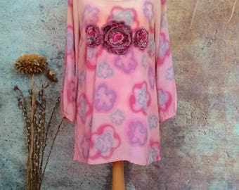 Embroidered roses dress,summer evening dress,new bespoke silk tunic,hand painted pure silk,ombre soft colour,wearable silk art garment.