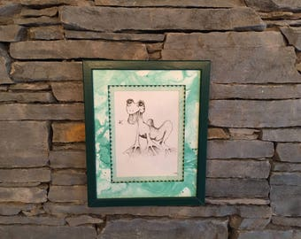 Vintage Framed Frog line drawing - quirky unique picture print
