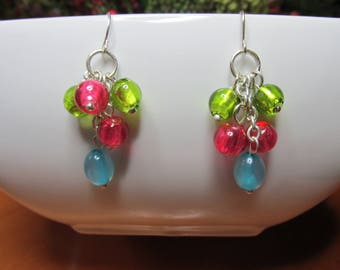 Multi-Colored dangle bead earrings