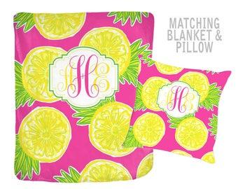 Pineapple Monogram Blanket -Lilly Pattern Design, Personalized Flower Nursery, Lemon Quilt -Baby Shower Gift-Swaddle Blanket Pillow Set
