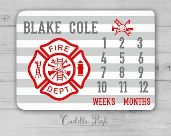 FIRE TRUCK Milestone Blanket, Month Growth Chart, Fire Truck Baby Blanket, Personalized Baby Boy Shower Gift, Firetruck Newborn Gift