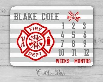 FIRE TRUCK Milestone Blanket, Month Growth Chart, Fire Truck Baby Blanket, Personalized Baby Boy Shower Gift, Firetruck Newborn Gift