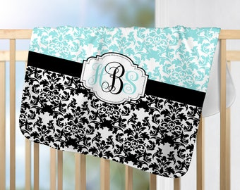 Monogram Blanket-Aqua Black DAMASK Nursery-Personalized Blanket-Baby Girl Name Blanket-Shower Gift-Swaddle Blanket Pillow Set-Baby Pillow