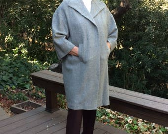 Brown and Off-White Herringbone Coat