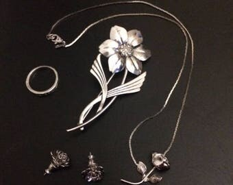 Sterling set including necklace, earrings, ring, and broach