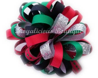 Red and Green Hair Bow - Christmas Hair Bow - Holiday Hair Bow - Christmas Loopy Bow - Big Hair Bow