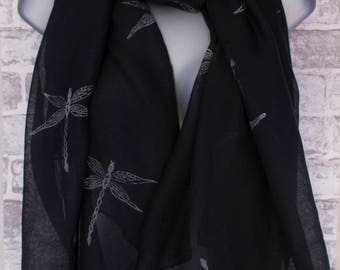 Hand Printed Dragonfly Black and Grey Scarf, Sarong, Shawl or Wrap -  A Wonderful Gift!