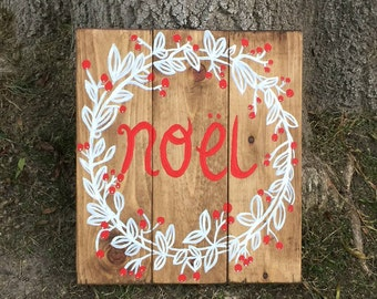 Hand painted holiday wooden sign