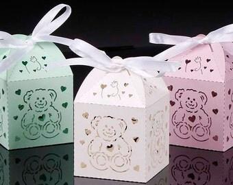 Bear Baby Shower Favor Boxes, Woodland Wedding Box Favor, Woodland Baby Shower Bear Favor, Woodland Birthday Party Favor, Bear Wedding Favor