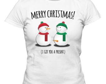 Non Personalized Snowman Christmas Ladies White/Red/Green Shirt, Humor, Santa Claus, Snowman, Holiday Gift, Merry Christmas