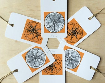 Gift Tags Oranges x6