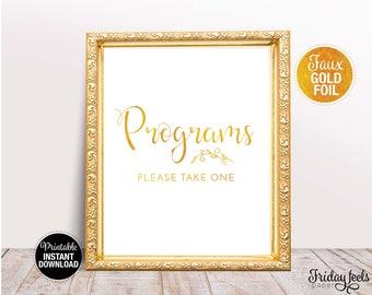 Programs Wedding Sign, Printable Wedding Poster, Gold look Script font, Instant Download, WS02