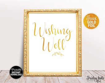Wishing Well Wedding Sign, Printable Wedding Poster, Gold look Script font, Instant Download, WS02