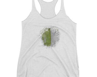 Splash Design/Women's Shirt/Design Shirt/Women's Racerback Tank/ Splash Design/White and Green Design/ kaleidoscope/ Mandala Design
