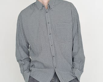 VINTAGE Black White Checked Long Sleeve Button Downs Retro Shirt
