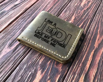 Star Wars Wallet, Personalized Mens Wallet I Am a Jedi, Like My Father Before Me Leather Wallet Mens Husband Gift Personalized Mens Gift k12