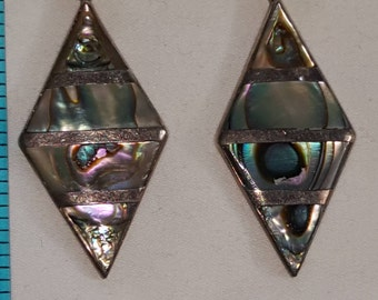Vintage Sterling Silver & Abalone Screw Back Earrings