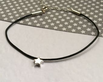 Delicate Star black leather and Stirling silver bracelet. Wish.
