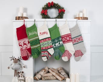 Knit Personalized Christmas stockings, Family Christmas custom stocking, Traditional Knit Stocking with handmade embroidery