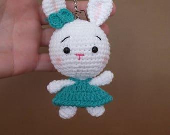 Amigurumi crochet bunny keychain - handmade keychain