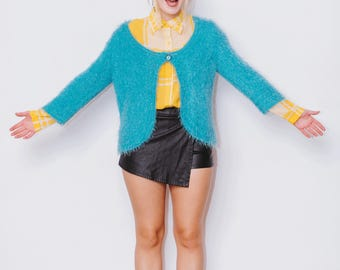 Vintage 1990's Bright Blue Fluffy Cardigan with Jewel Button Detail, Size 14