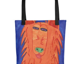 Orange Shepherd - Amazingly beautiful full color tote bag with black handle featuring children's donated artwork.
