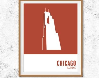 Chicago Art Print. Mid-Century Modern City Poster. Minimalist Wall Art. Sears Tower Art. Wills Tower Art Print. Simple City Print. Chicago