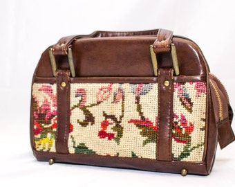 Vintage Needlepoint Bag with Two Compartments and Pockets  on Both Sides