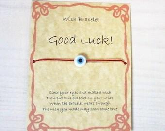 Handmade Gift Card, Wish Bracelet for Good Luck. Evil eye, Greek Mati red cotton waxed cord.
