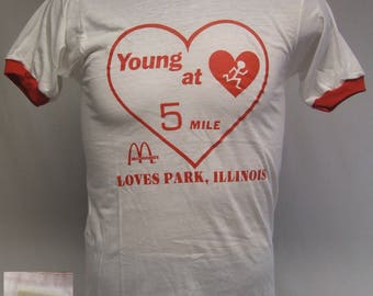 McDonald's Young At Heart 5 Mile Loves Park Screen Stars Vintage 80s Ringer T-Shirt Medium New Old Stock NOS