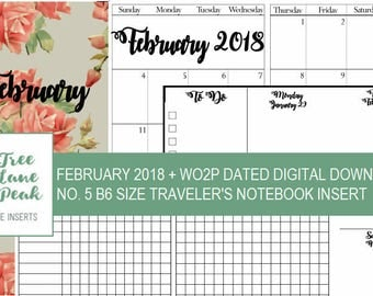 February 2018 Month + Dated WO2P Printable TN - B6 Size