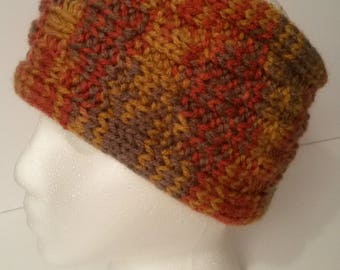 NEW Handmade Knitted Headband Ear Warmer Autumn Colors Gold