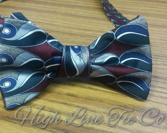 Handmade Self-Tie Bow Tie made from 2 vintage neckties, One-of-a-kind