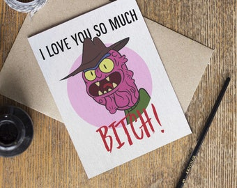 Rick and Morty Scary Terry Card - I Love You Valentines Day Anniversary Cards - Adult Swim TV Show - Boyfriend Girlfriend