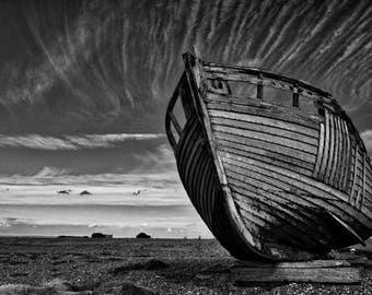 Abandoned boat at Dungeness
