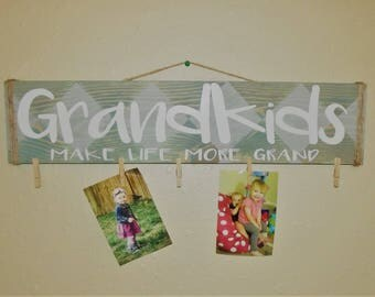 Grandkids Make Life Grand Photo Holder Wall Hanging