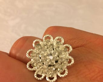 Sparkly Silver and Rhinestone Statement Adjustable Ring