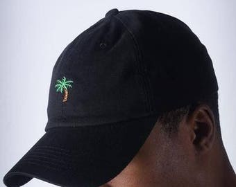 No Worries Palm Tree polo dad hat, black-cap polo baseball NEW low profile sport