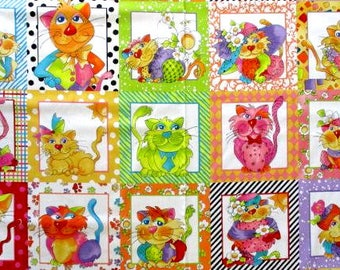 Happy Cats, Fabric Panel, Quilting Treasures, Childrens Fabric, Cartoon Cats, Kids Prints