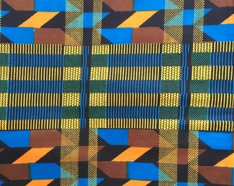Wax / Ankara / Kente Fabric (sold by the meter) - bleu, green and brown