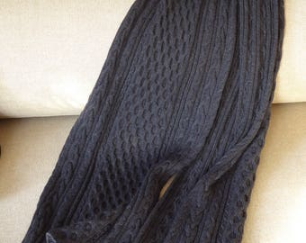 Hand knitted scarf made of fine merino wool