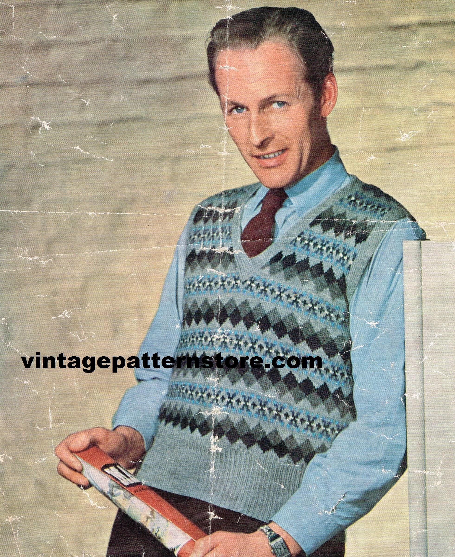 Mans 1950s V neck fair isle sleeveless sweater vest tank