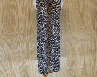 Vintage 1960's VANITY FAIR Leopard Animal Print Double Slit Short Negligee Nightgown Small