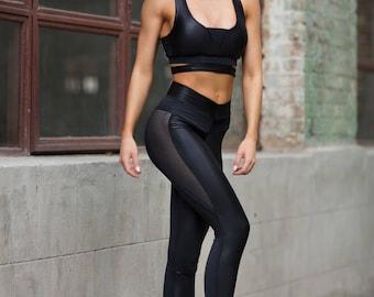 Set Disco Black, Leggings top, yoga set, Workout set, leggings women, Woman outfit, Workout leggings, Black top, Gym Set, yoga leggings