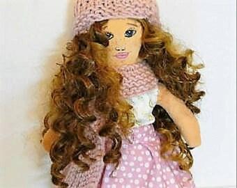 girl power cloth doll rag doll textile doll nursery decor fabric doll vintage doll  dolls handmade toys art doll handmade tilda doll